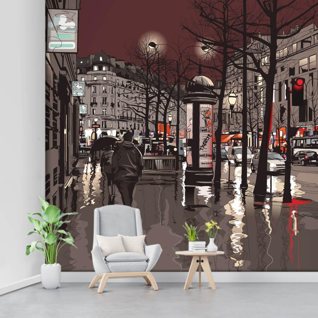 Gece yağmurlu Paris sokaklarında yürüyenler duvar kağıdı