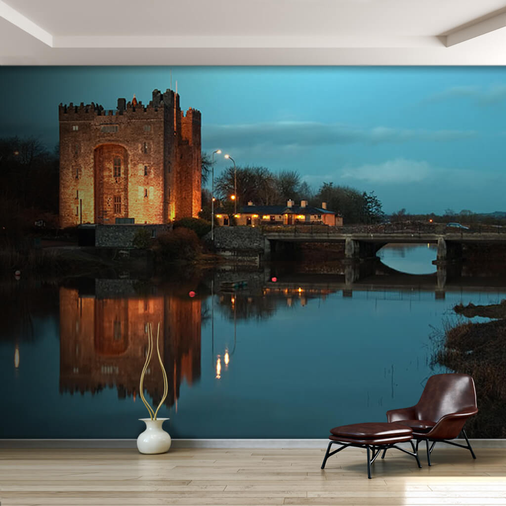 Bunratty Castle with reflection in water Ireland wall mural