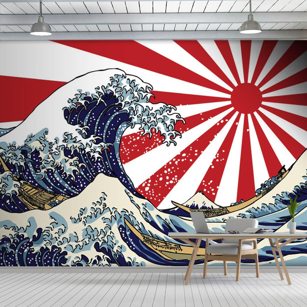 Kanawaga'nın büyük dalgası Japon Fuji duvar kağıdı