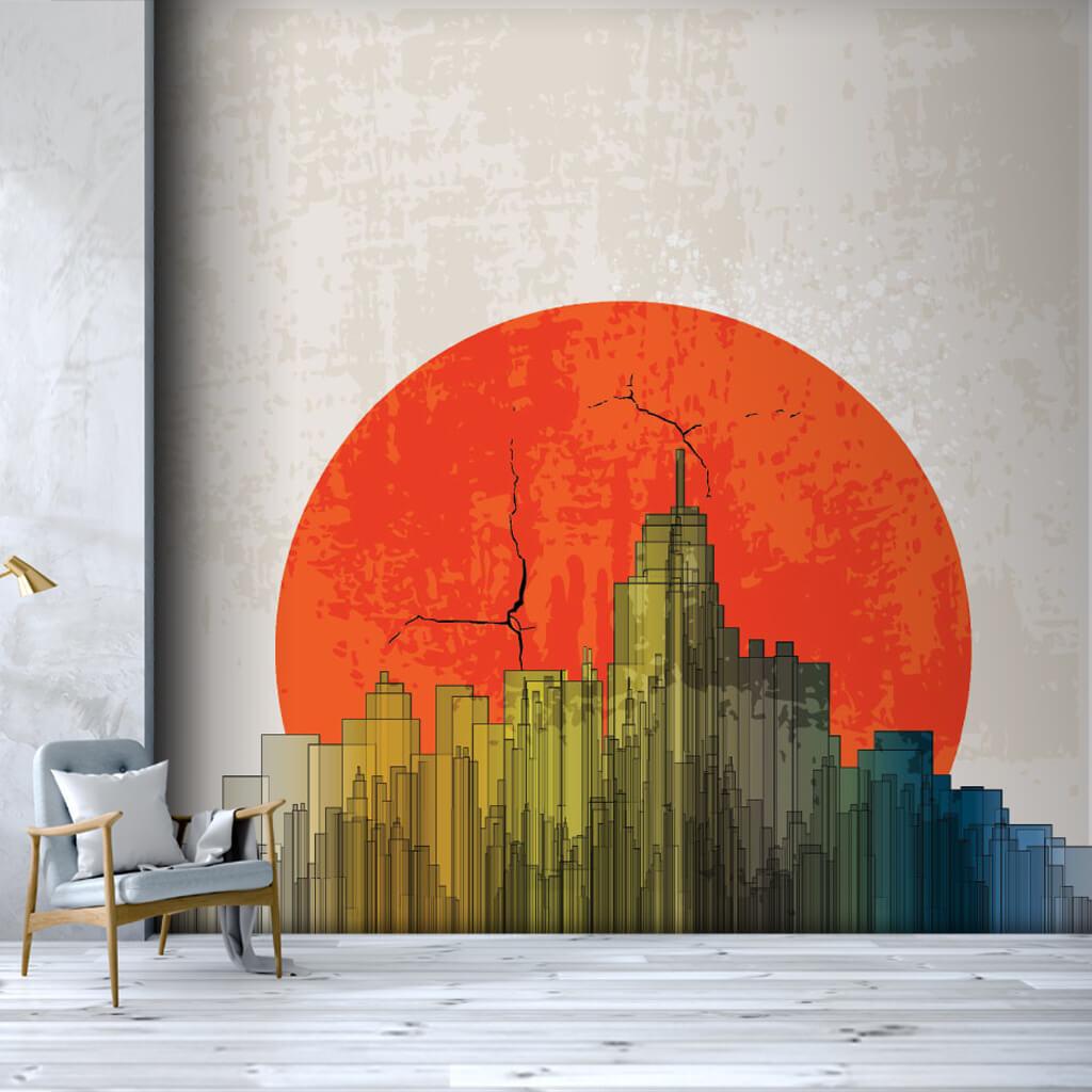 Kırmızı güneş ve gökdelenler apokaliptik duvar kağıdı