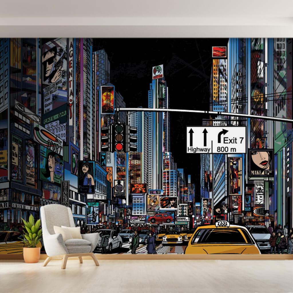 Gece New York sokakları vektörel çizim duvar kağıdı