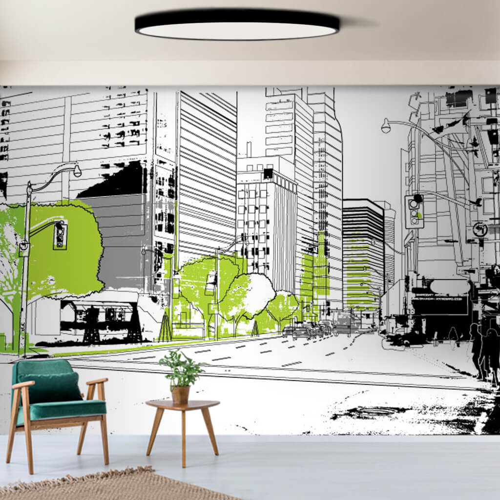 City street and green trees vector illustration wall mural