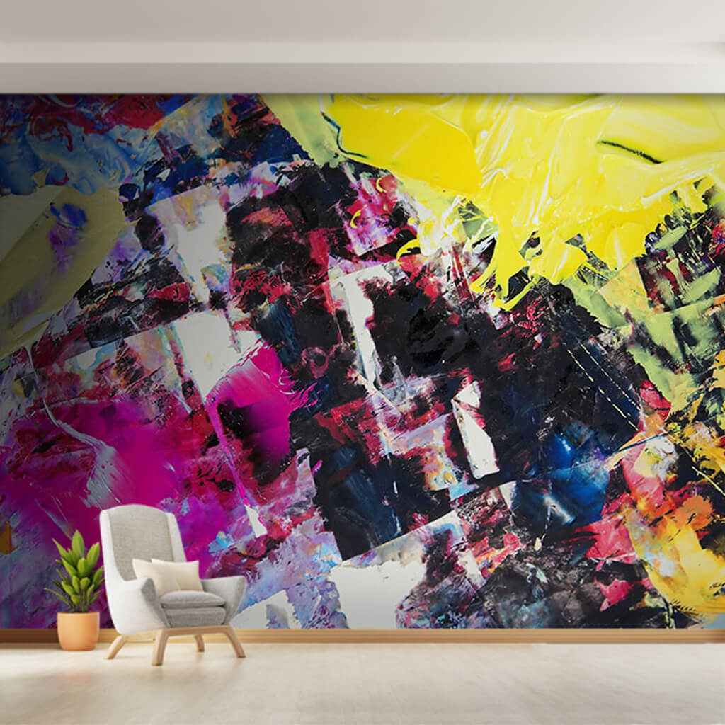 Abstract oil painting with yellow purple colors wall mural