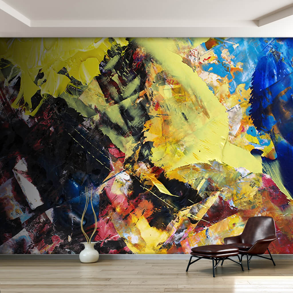 Abstract oil painting with yellow and blue colors wall mural