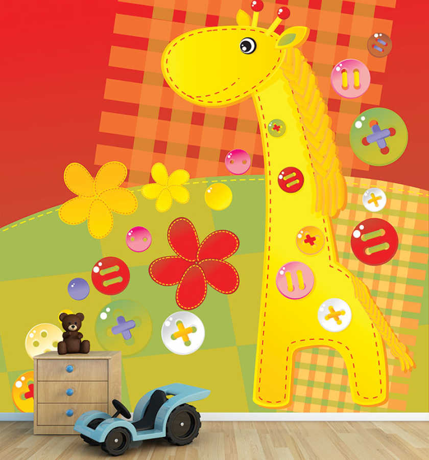 Colorful buttons giraffe and flowers baby room wall mural