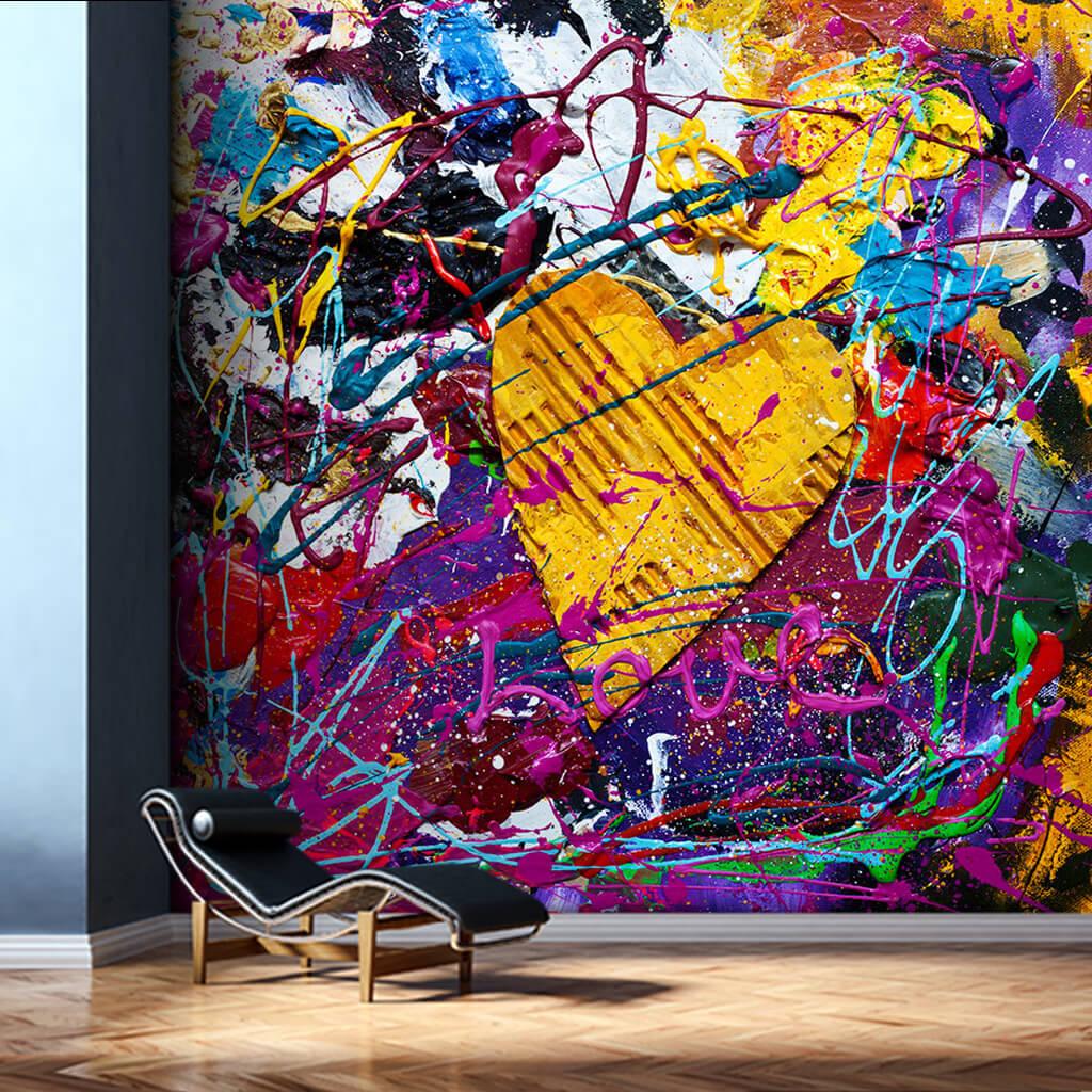 Renkler içinde sarı karton kalp ve aşk sanat duvar kağıdı