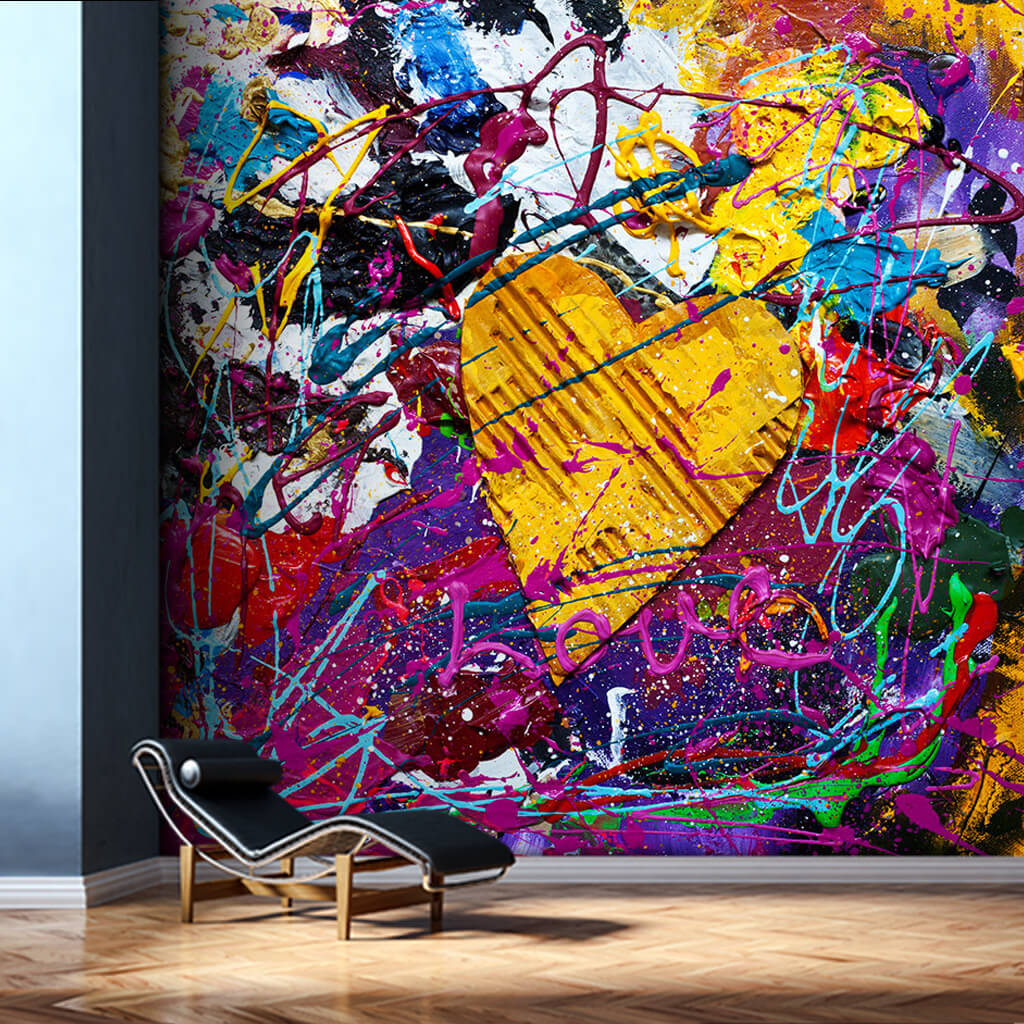 Yellow cardboard heart and love in colors art wall mural