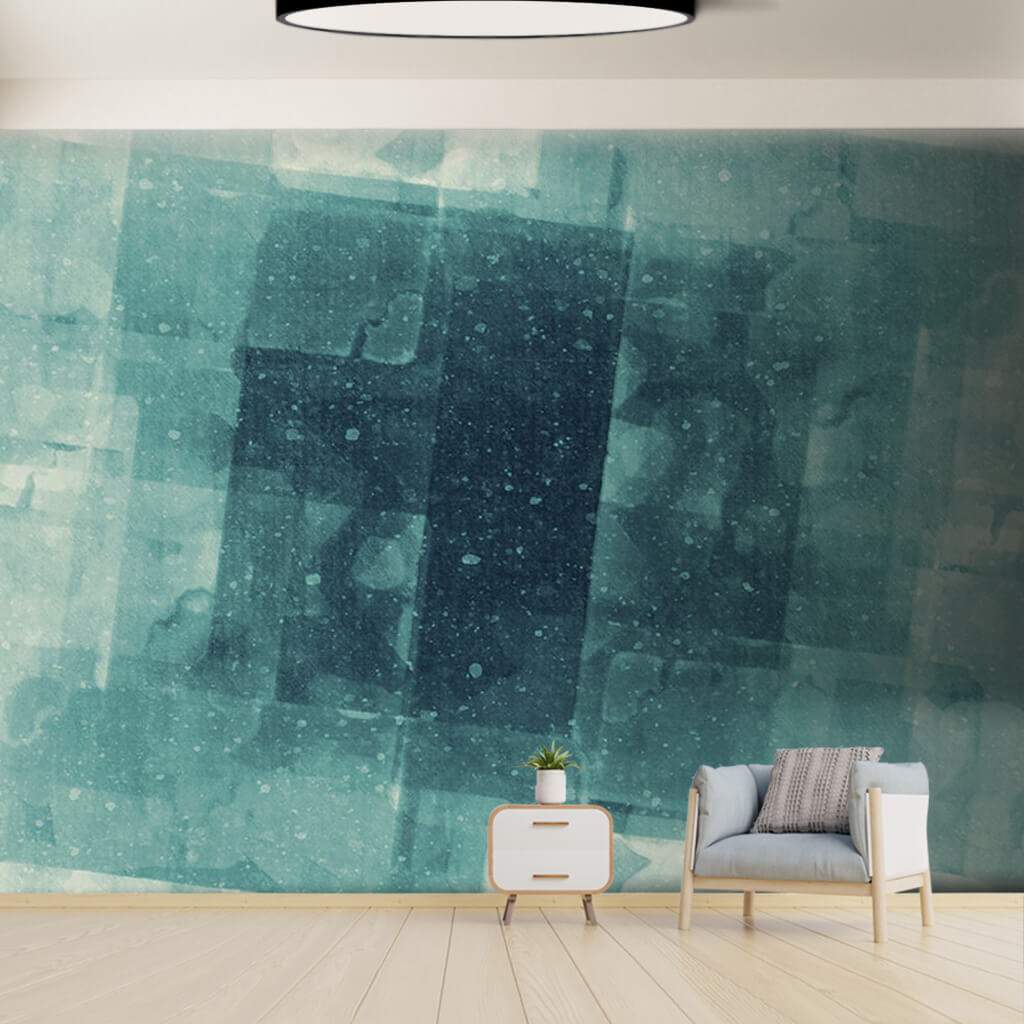 Blue green ice cubic abstract modern art custom wall mural