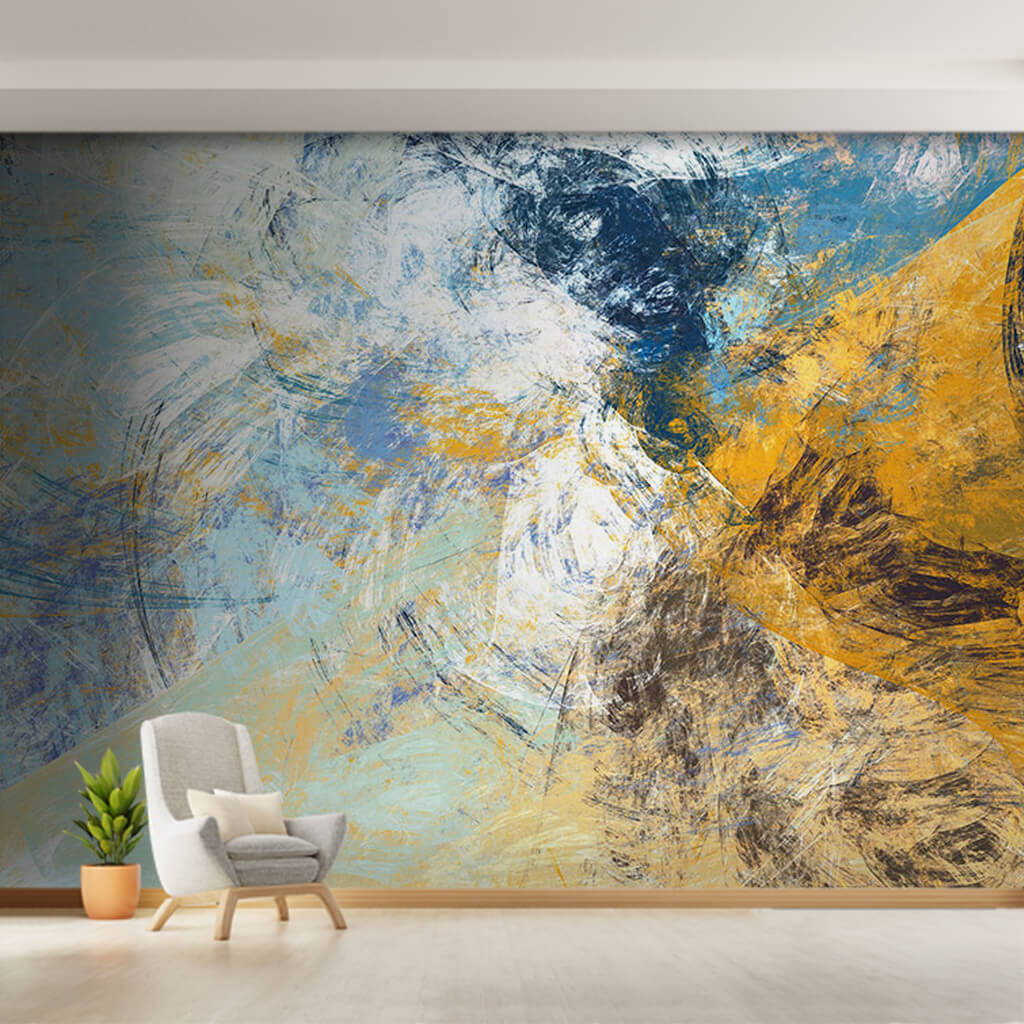 Dynamic painting with blue and yellow colors wall mural