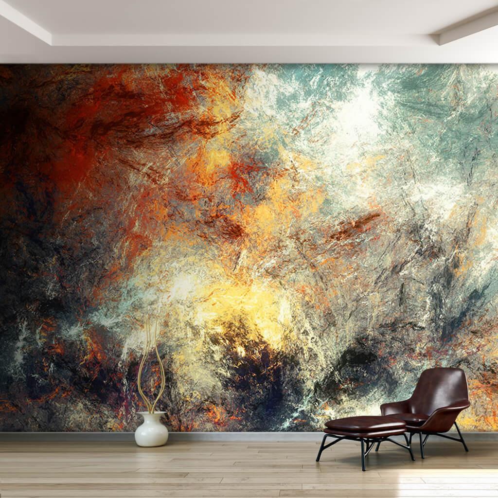 Dinamik boyama canlı renklerle buz etkisi duvar kağıdı