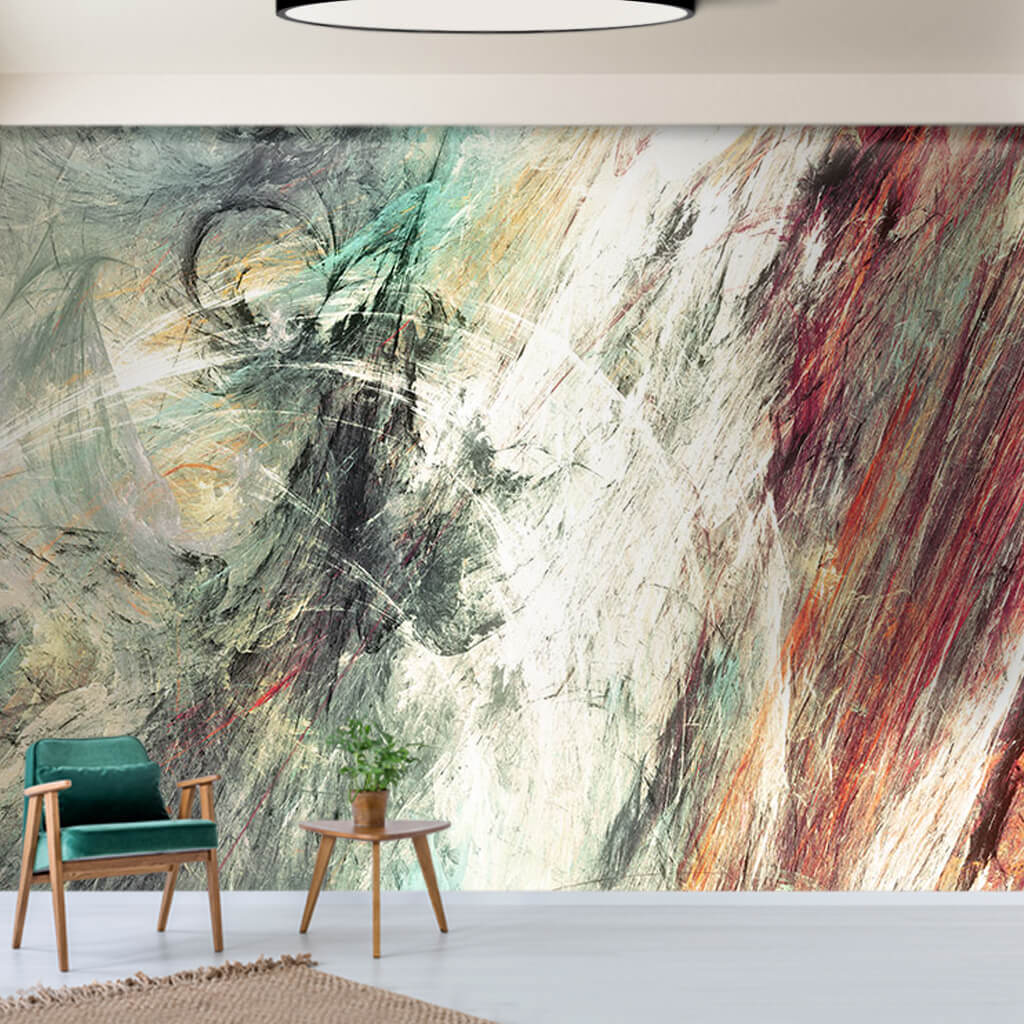 Artwork with dynamic painting technique custom wall mural