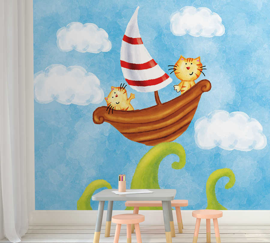 2 tabby cats on the sailing ship baby room wall mural