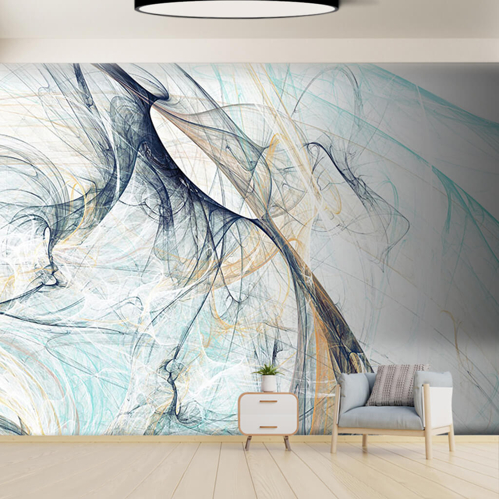 Blue fringes with white and black colors custom wall mural