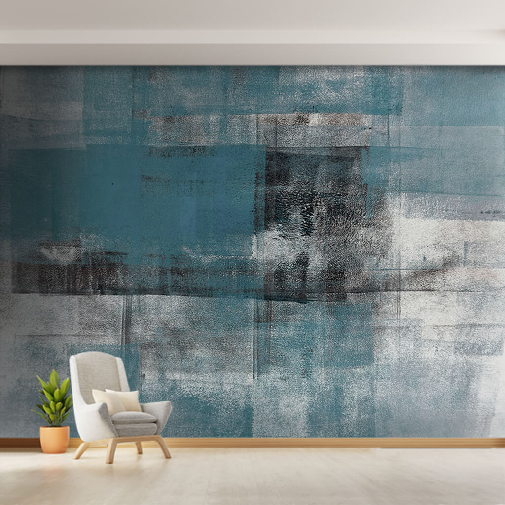 Brush strokes with blue white black stains custom wall mural