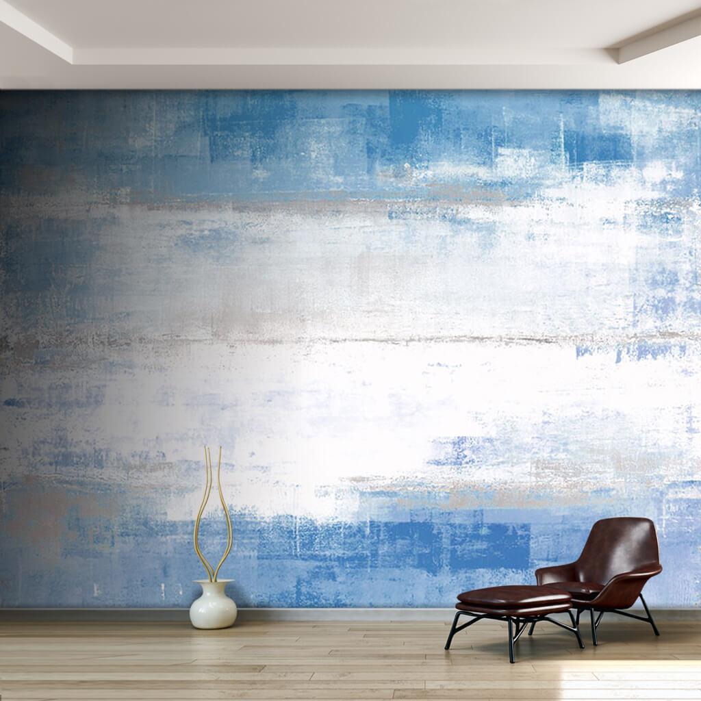 Beton duvarda buz efekti mavi beyaz modern sanat duvar kağıdı