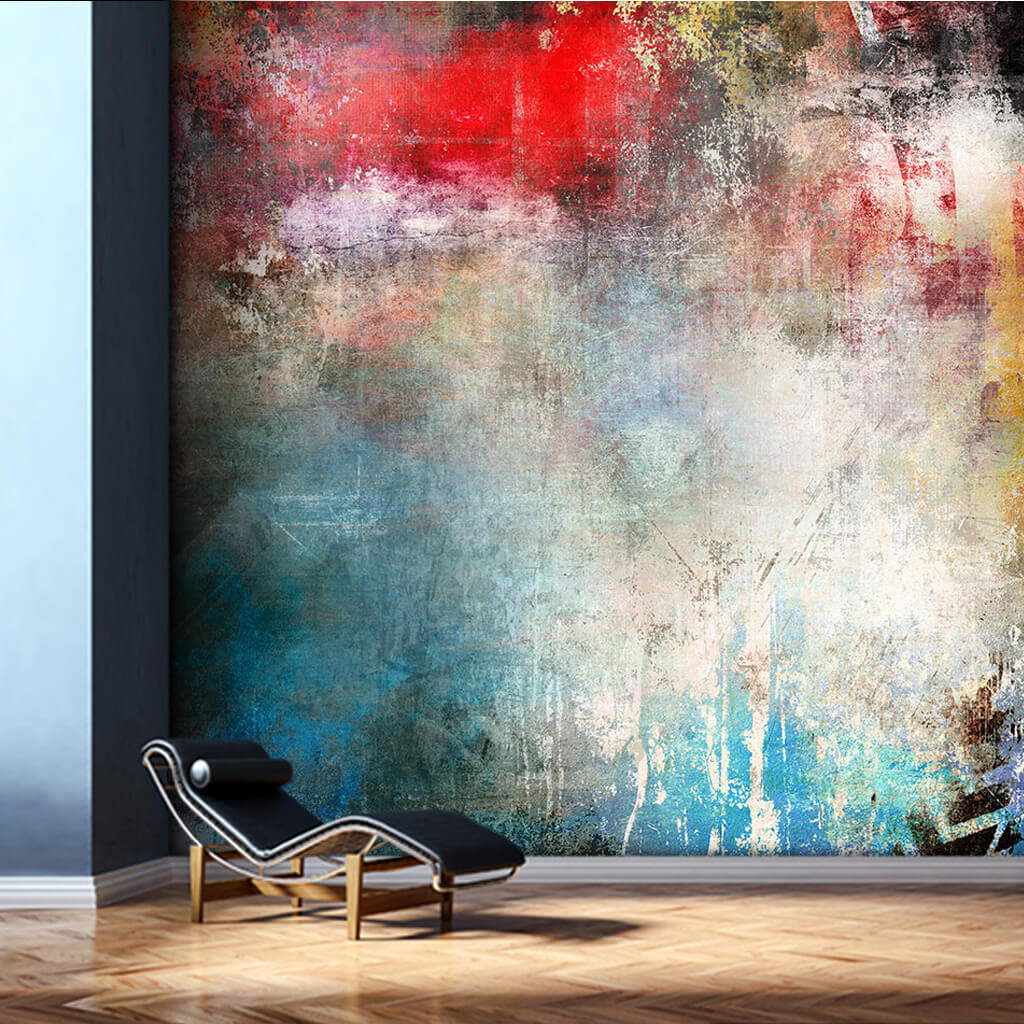 Dynamic painting red blue colors modern art wall mural