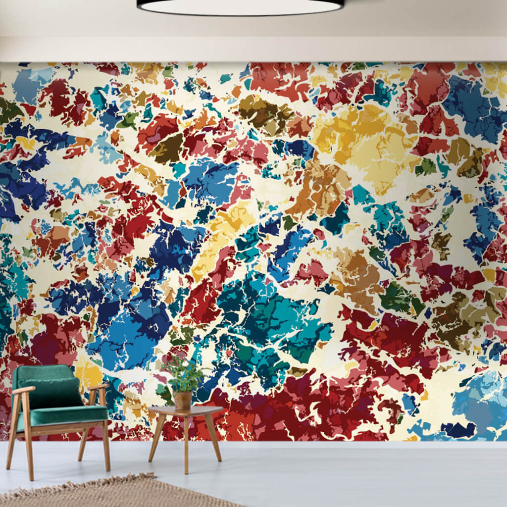 Colorful grunge pieces detailed color pattern wall mural