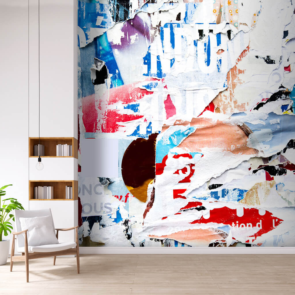Colorful collage with torn papers pattern art wall mural