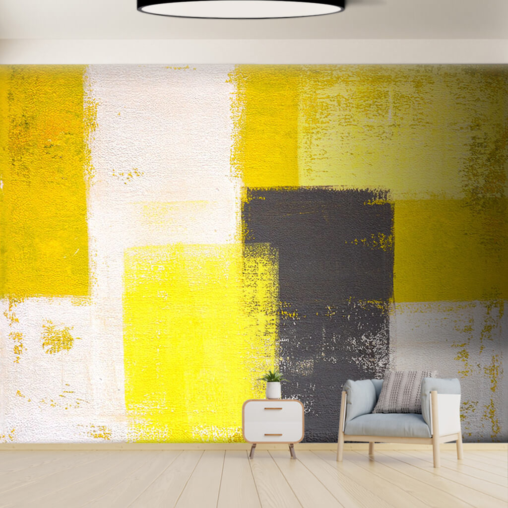Dynamic painting yellow and black colors spatula wall mural