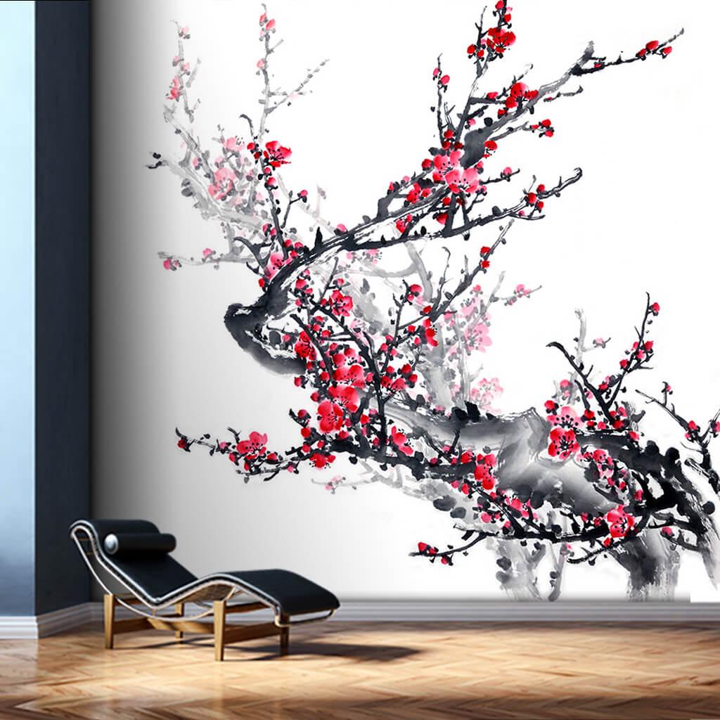 Kırmızı meyveli ağaç dalı sulu boya resim duvar kağıdı