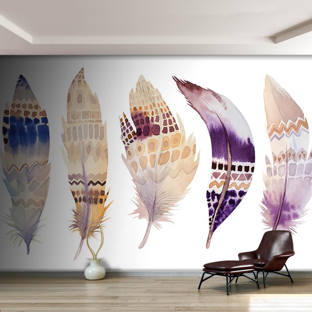 Elle çizilmiş sulu boya tüy seti illüstrasyon duvar kağıdı