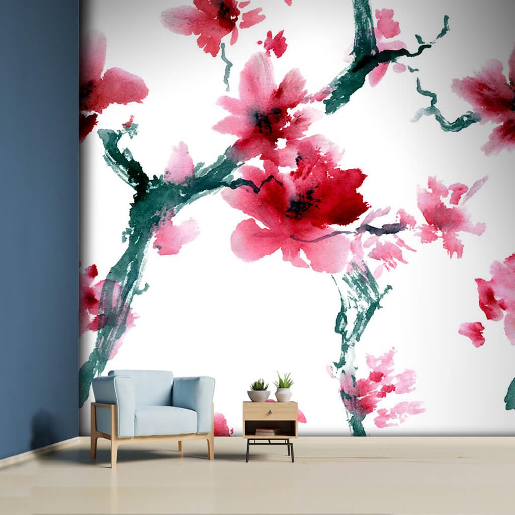 Japanese Sakura Cherry Blossom In Lavi Style Wall Mural