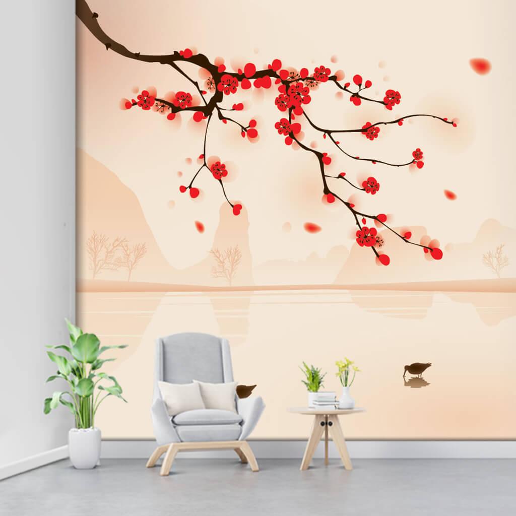 Kırmızı çiçekli baden ağacı dalı ve kuşlar soft duvar kağıdı