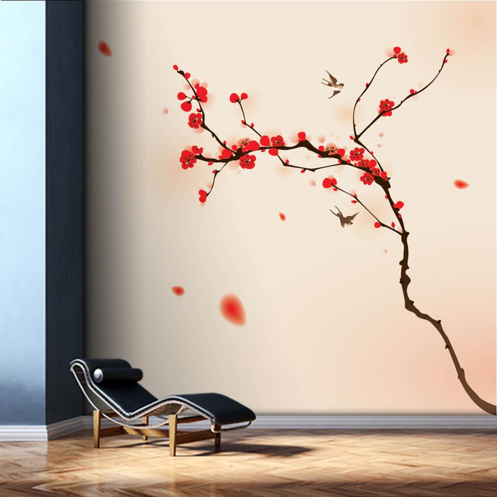 Kırmızı çiçek açan badem ağacı dalı soft pembe duvar kağıdı