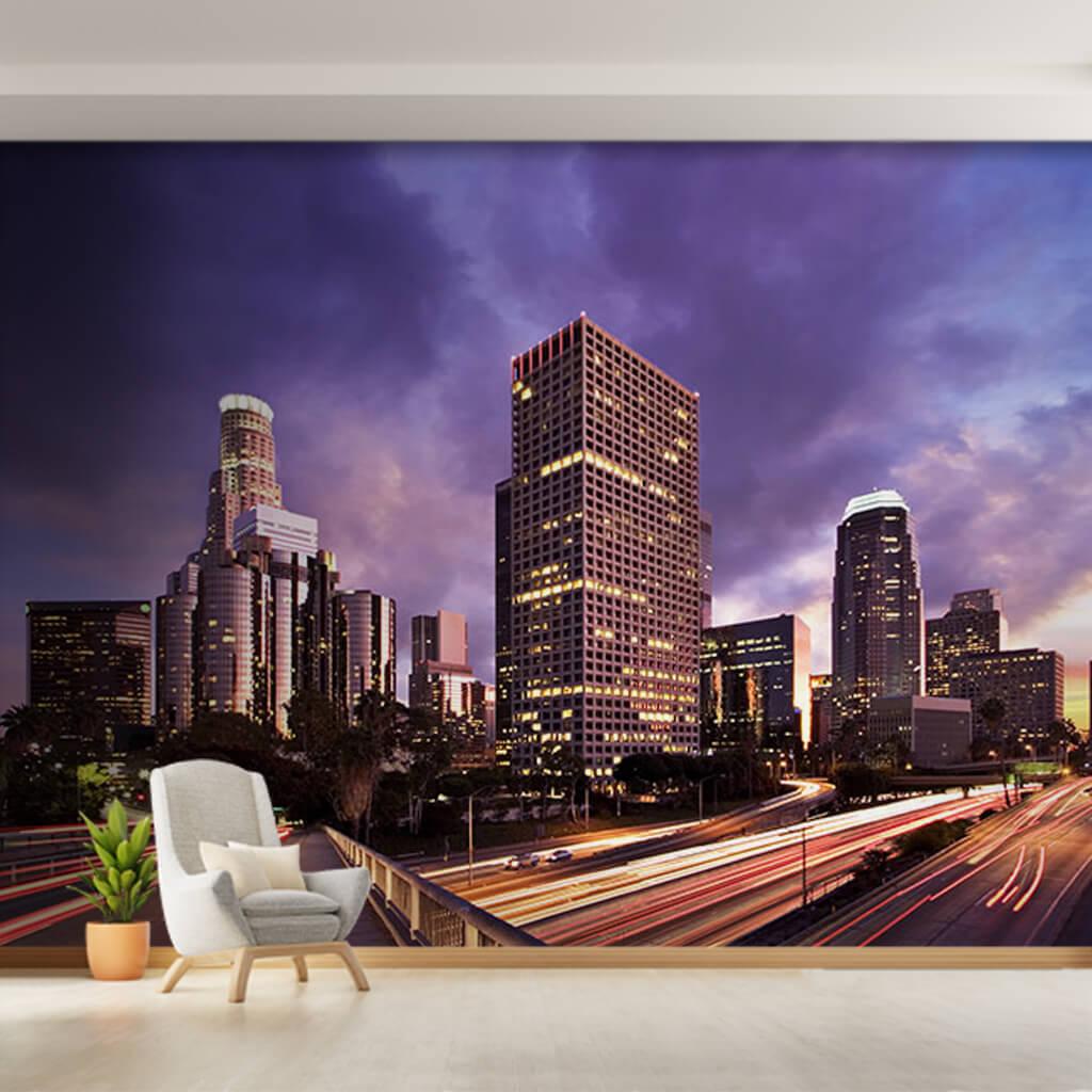 Gece akan trafik ışıkları gökdelenler Los Angeles duvar kağıdı