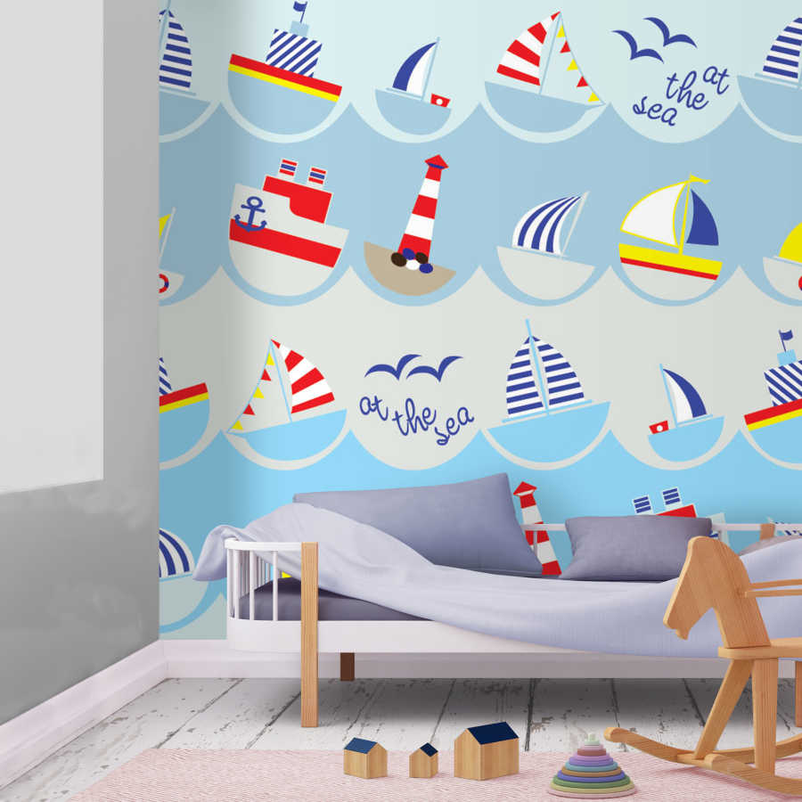 Baby room wallpaper with lighthouse waves and ships
