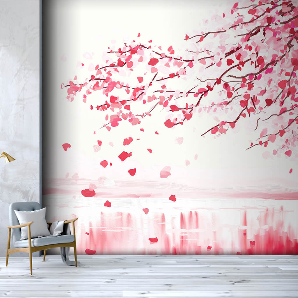 Cherry tree with spilled leaves sakura custom wall mural
