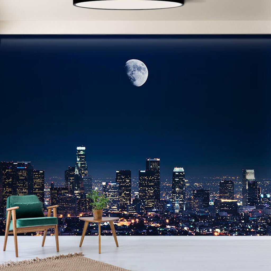Gece Ay ışığında gökdelenler ve şehir Los Angeles duvar kağıdı