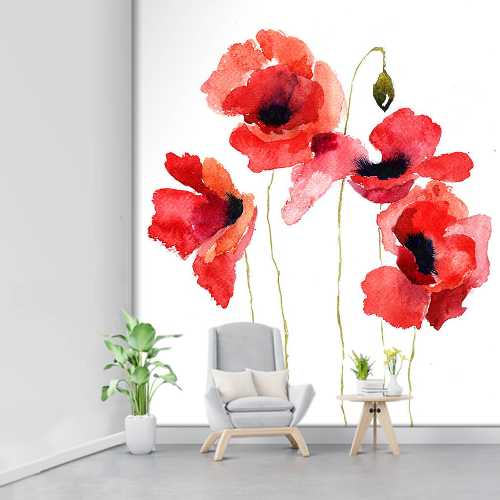 4 red poppy and a bud watercolor painting custom wall mural