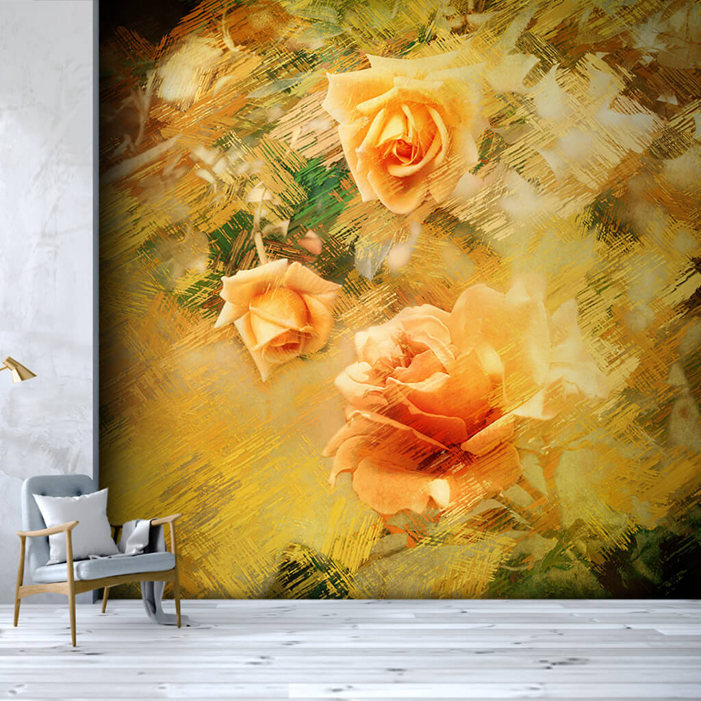 Buds oil painting on yellow scalable custom wall mural