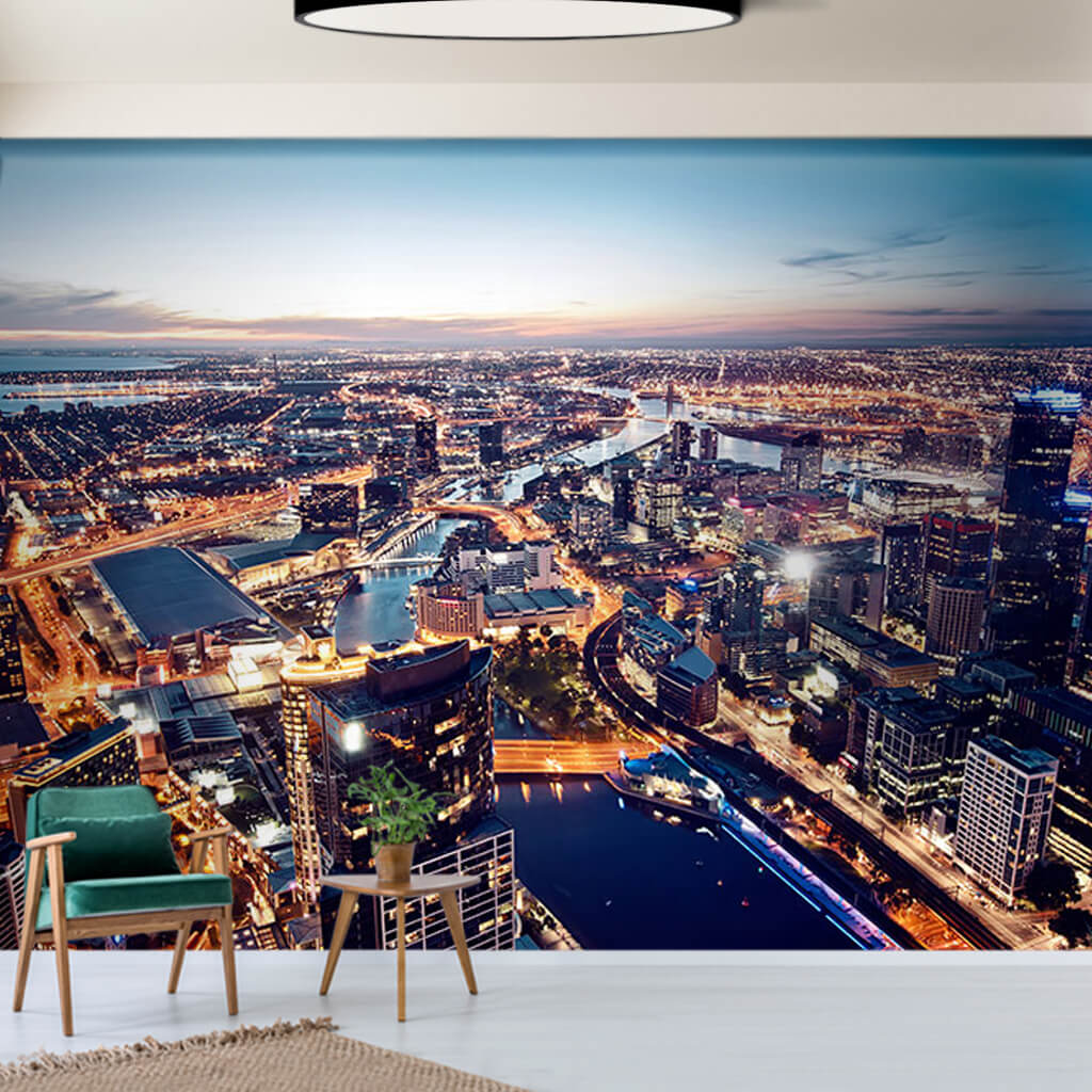 City lights landscape at night Melbourne Australia wall mural