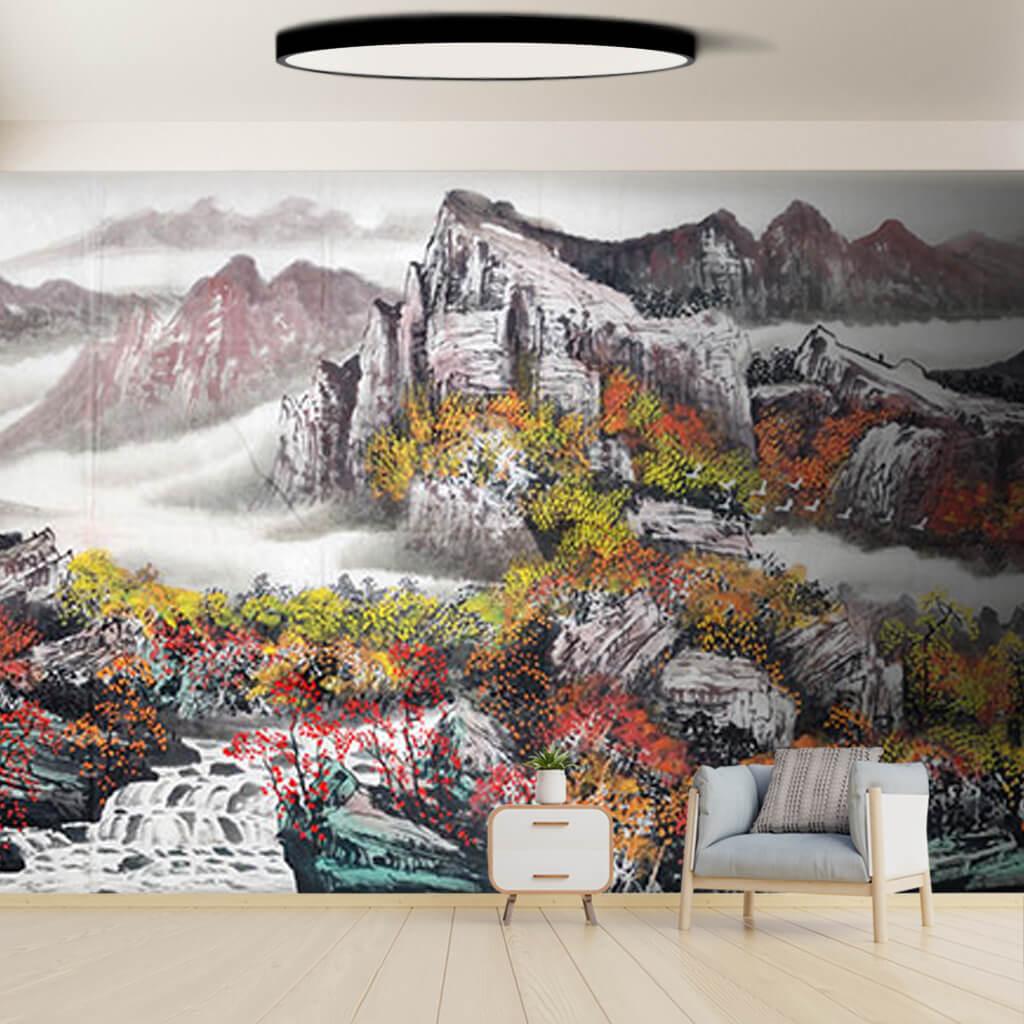Dağlar ve akarsular panoramik yağlıboya resim duvar kağıdı