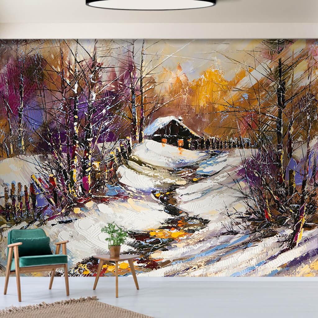 Eski çiftlik kulübesi kış manzarası yağlı boya duvar kağıdı