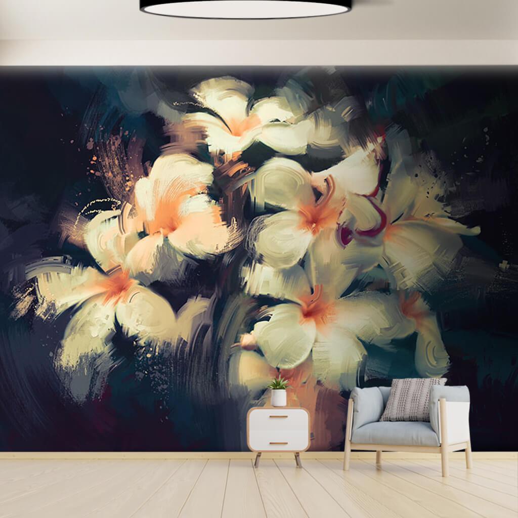 Karanlıkta beyaz nergis çiçekleri yağlı boya duvar kağıdı