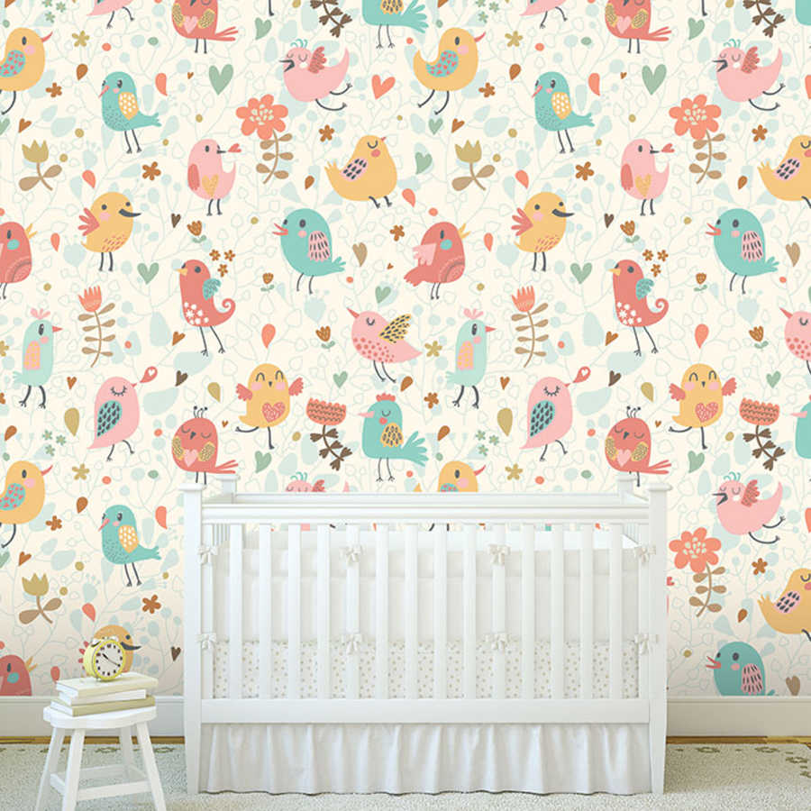 Colorful birds and flowers festival baby girl room wall mural
