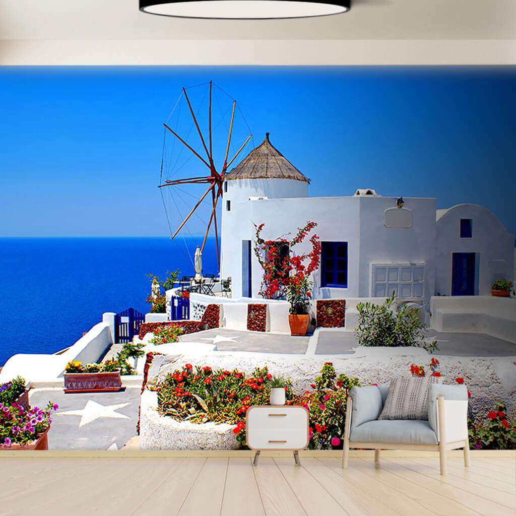 Aegean sea white mill Santorini Greece custom wall mural