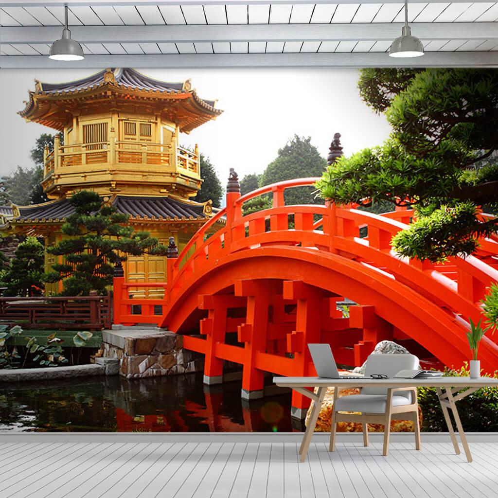 Altın manastır Nan Lian bahçesi Hong Kong Çin duvar kağıdı