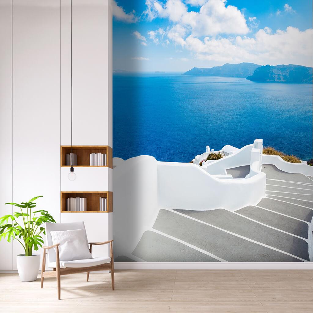 Ege denizi adalar ve beyaz merdivenler Santorini duvar kağıdı
