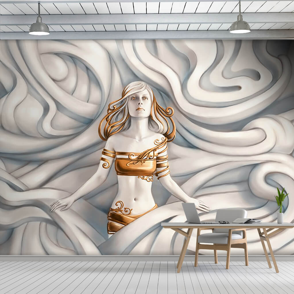 3D relief woman in white waves scalable custom wall mural