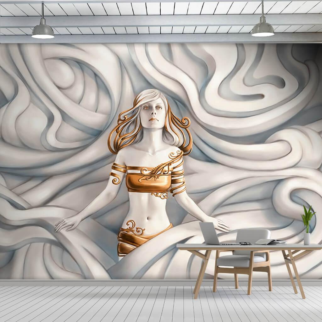 Dalgalar içinde 3 boyutlu kabartma kadın duvar kağıdı