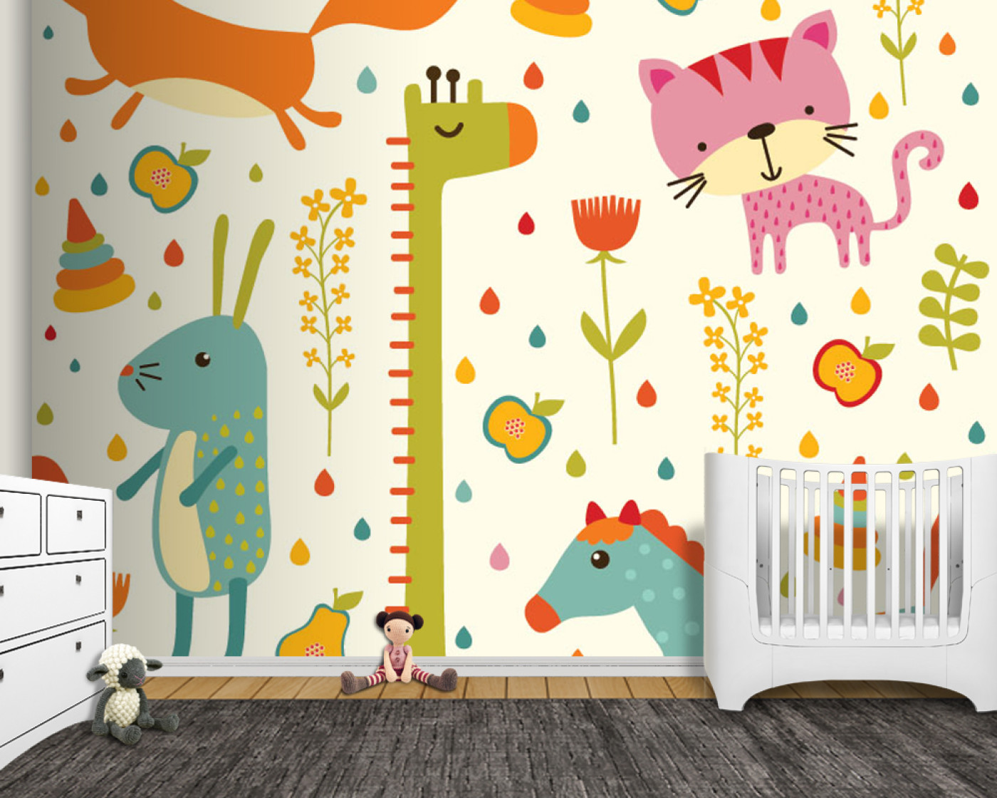 Cute giraffe bunny horse and cat drawings baby wall mural