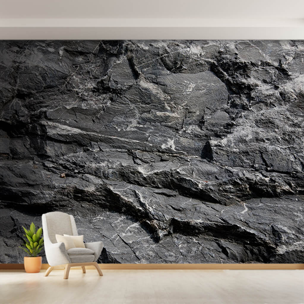 Natural rock cross section stone 3d black white wall mural