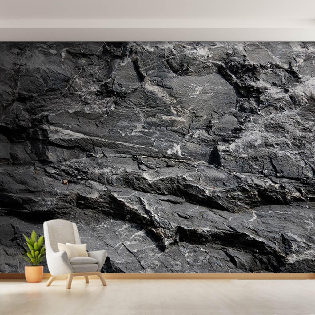 Siyah beyaz doğal kaya kesiti taş 3D duvar kağıdı