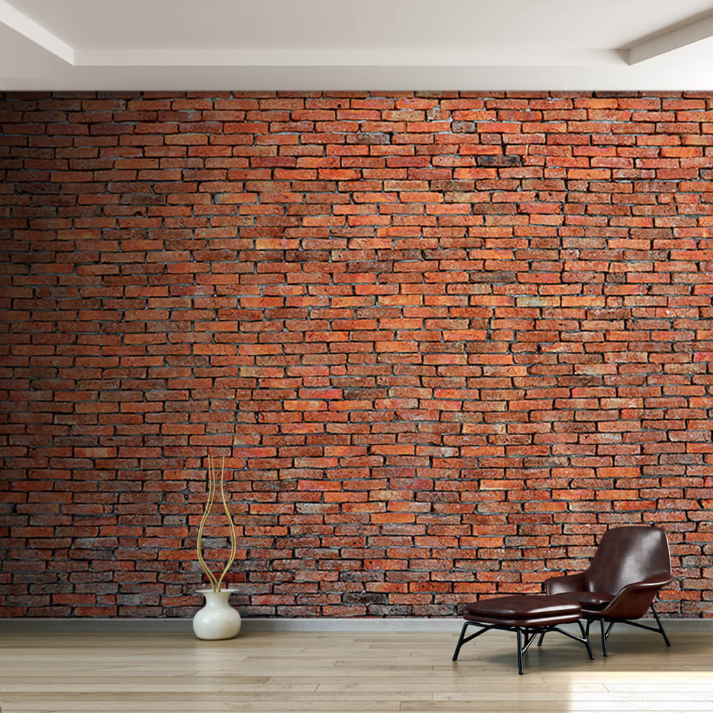 Brick knitted stone orange color scalable custom wall mural