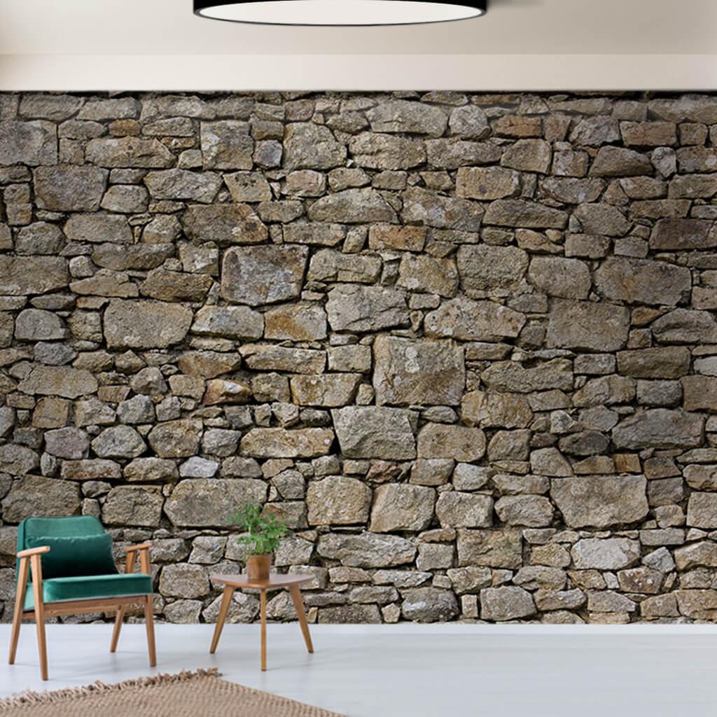 Gri renk taş örme duvar kesiti duvar kağıdı
