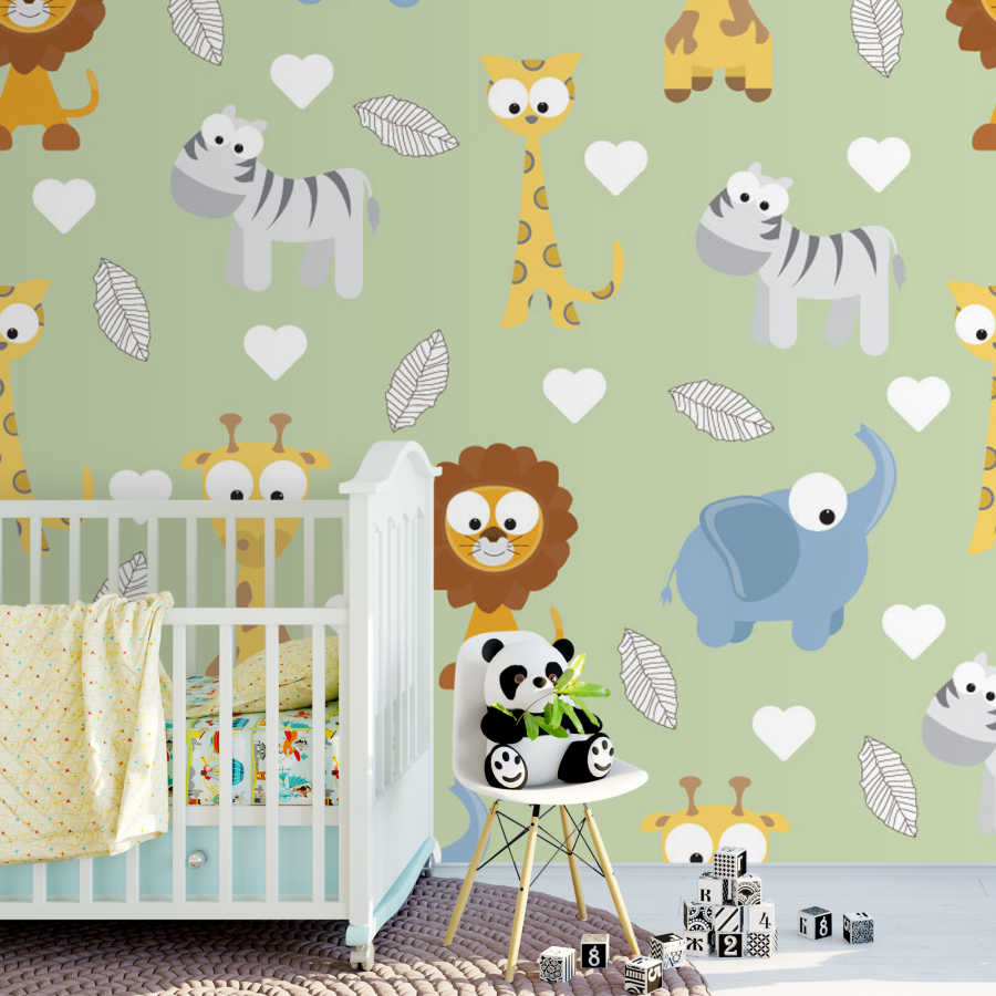 Cute giraffe lion elephant and zebra drawing baby wall mural
